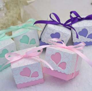 20 pieces Door Gift / Favors Square Candy Paper Box come with Ribbon And Heart Shape Design