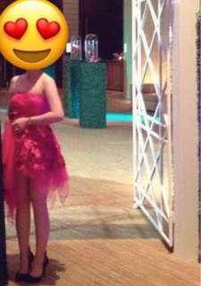 🚚 晚禮服洋裝紅色葉狀連衣裙結婚用也可婚紗晚宴