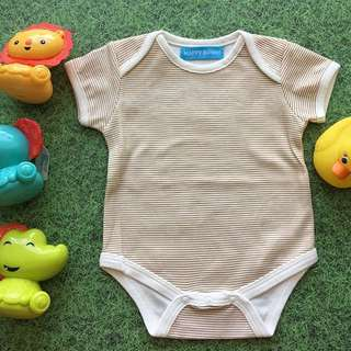 Unisex Baby Romper with Brown and Beige Stripes
