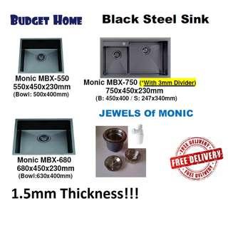 Kitchen sink / Black 304SuS steel sink 1.5mm THICKness Black 304 stainless steel kitchen sink. Black sink .304 stainless steel black kitchen sink . Black kitchen sink