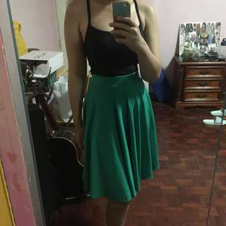 Green knee length skirt