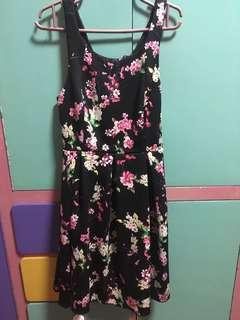 Floral little black dress