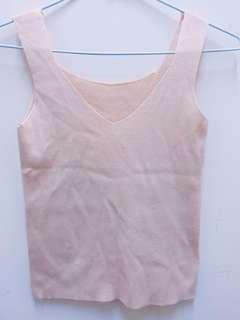 🚚 ✨新品轉賣✨ 夏日 韓版可愛顯瘦素面修身針織V領無袖背心/米色