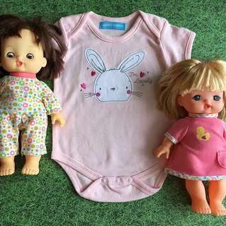 Baby Girl Romper in Soft Pink with Bunny Image