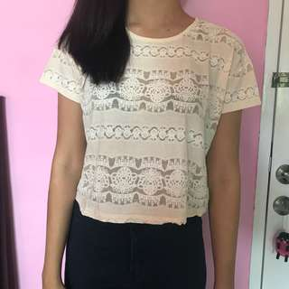 Forever 21 lace crop top broken white