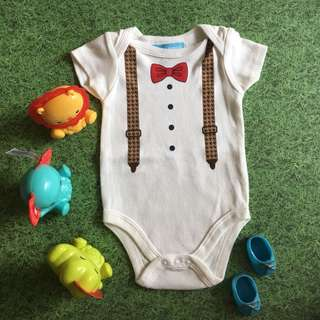 Baby Boy Romper with Bow and Suspenders Print
