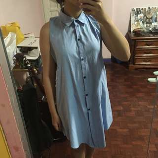 Sleeveless Blue Boyfriend Shirt Dress