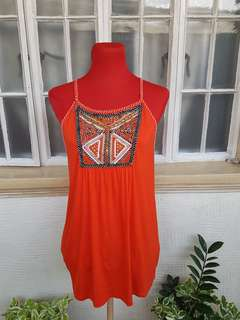 Orange Bejewelled Top