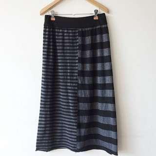 Midi stripe combination skirt
