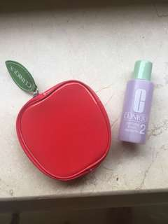 Clinique clarifying lotion No2 and make up pouch