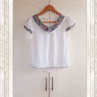White printed collar top
