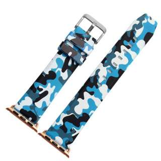 Blue Camo Rubber Strap for Apple iWatch 38mm, 42mm