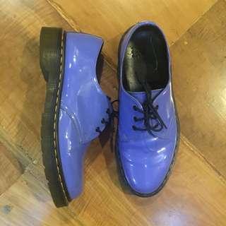 Dr Martens 1461 Patent Leather Flat Shoes (purple, US 8 women's)