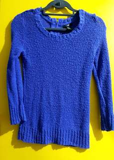 H&M Knitted Swearshirt in Royal Blue