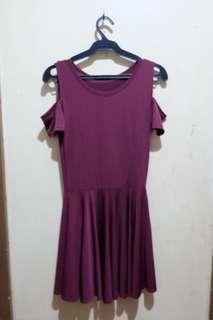 Maroon Cold Shoulder Dress