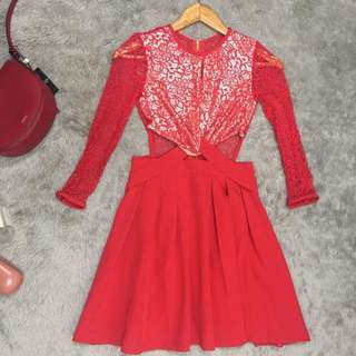 Red Lace Cut out Dress