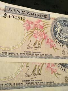 Sg old $1 notes 3pc x 6=$18