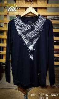 Tshirt Koko Muslim Lengan Panjang Navy ADL007