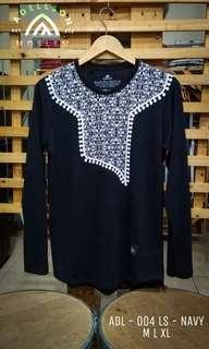 Tshirt Koko Muslim Lengan Panjang Navy ADL004