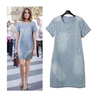 Pearl Studded Denim Dress