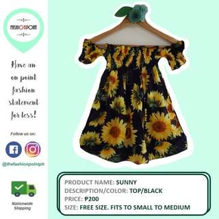 Black Sunflower Off-shoulder