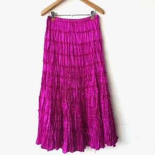 Satin tiered fuschia maxi skirt/tube dress