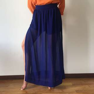 Blue Maxi Skirt with Slits