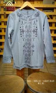 Tshirt Koko Muslim Lengan Panjang ADL 005LS Light Blue