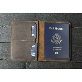Passport Holder Bag Handmade Leather  ( Customizable  + engraving)