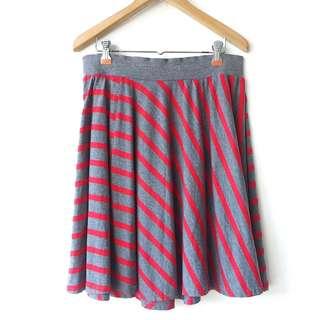 Red & Gray stripe circle skirt