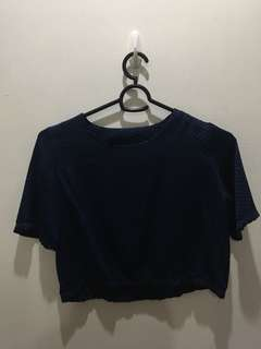 Navy blue crop blouse