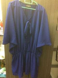 Ms Read blue w/ ribbon blouse