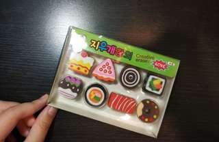 Cute food erasers! 🎂🍫🍬