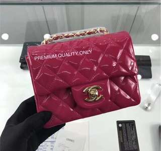Chanel Mini Square Patent Leather - pink