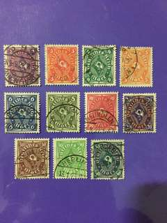 11 pcs Deutsches Reich Germany Used Stamps