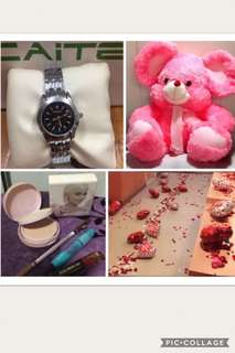 Bundle gift set!!! Huge Stuffed Toy, Cosmetic Set ( Pressed Powder, Lip & Cheek Tint, Maskara, Eyebrow Pencil) Balloons