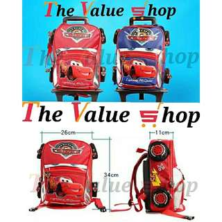 NEW Cars 2 in 1 Student Backpack Handheld Trolley Bag