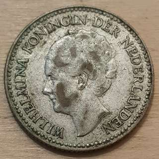 1930 Netherlands Queen Wilhemina Half Gulden Silver Coin