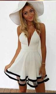 Bn white and black deep v mesh dress