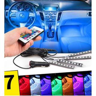 Car RGB 12LED Strip Light Floor Interior Light with Remote