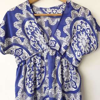 Silk printed kaftan style shirt/dress