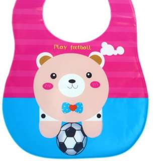 BABY STEPS Play FootBall Baby Feeding Washable Bib (Pink)