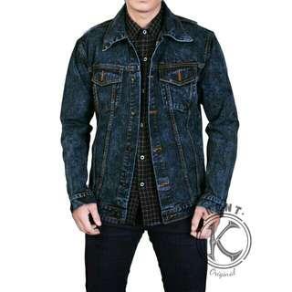 Kent jaket jeans sandwash blueblack