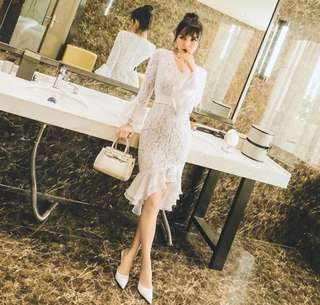 New Fashion lace lotus long sleeve Dress