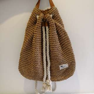 Woven Backpack with Cotton Rope Strap
