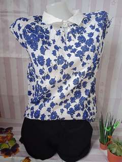 Blue and white floral top