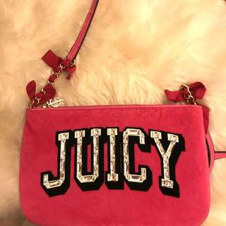 🚚 Juicy couture 桃色絨布包
