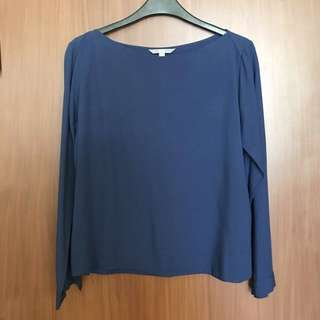 Uniqlo Navy Blue Rayon Long Sleeves Top