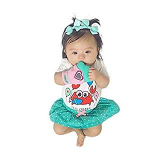 Yummy Mitt Teething Mitten Pink and Turquoise