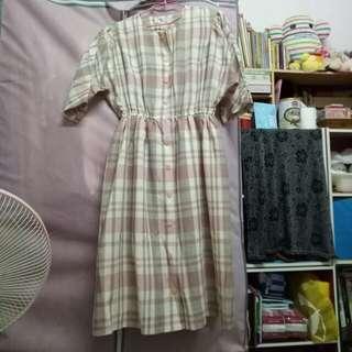 昭和文藝 淺粉灰全開式洋裝